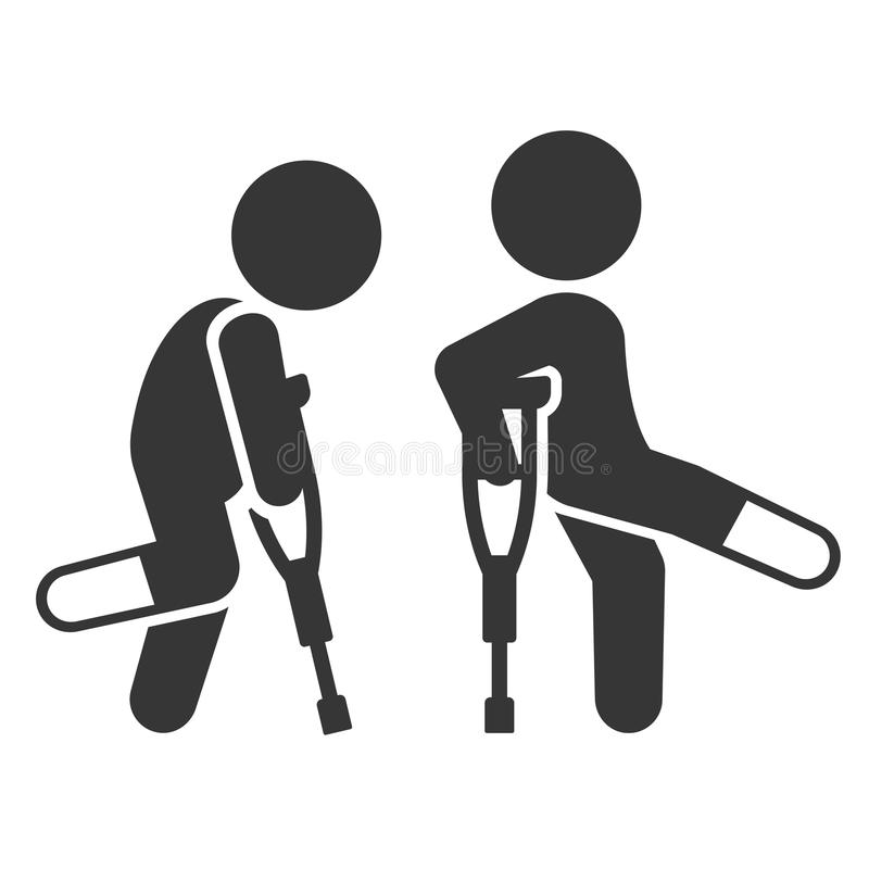 Homme blessé avec l'ensemble d'icône de béquilles Vecteur illustration stock
