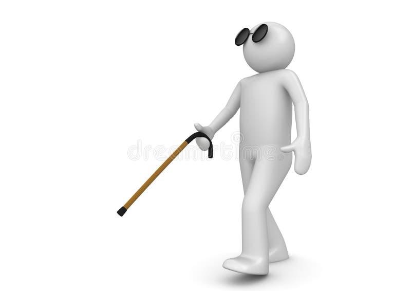 Homme borgne avec le bâton de marche illustration stock