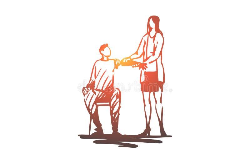 Homme, bras, prothèse, bionique, concept de technologie Vecteur d'isolement tiré par la main illustration libre de droits