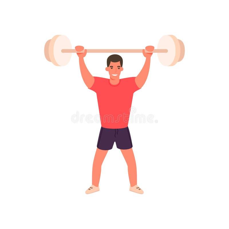 Homme brutal musculaire de bande dessinée avec le barbell Vecteur illustration stock