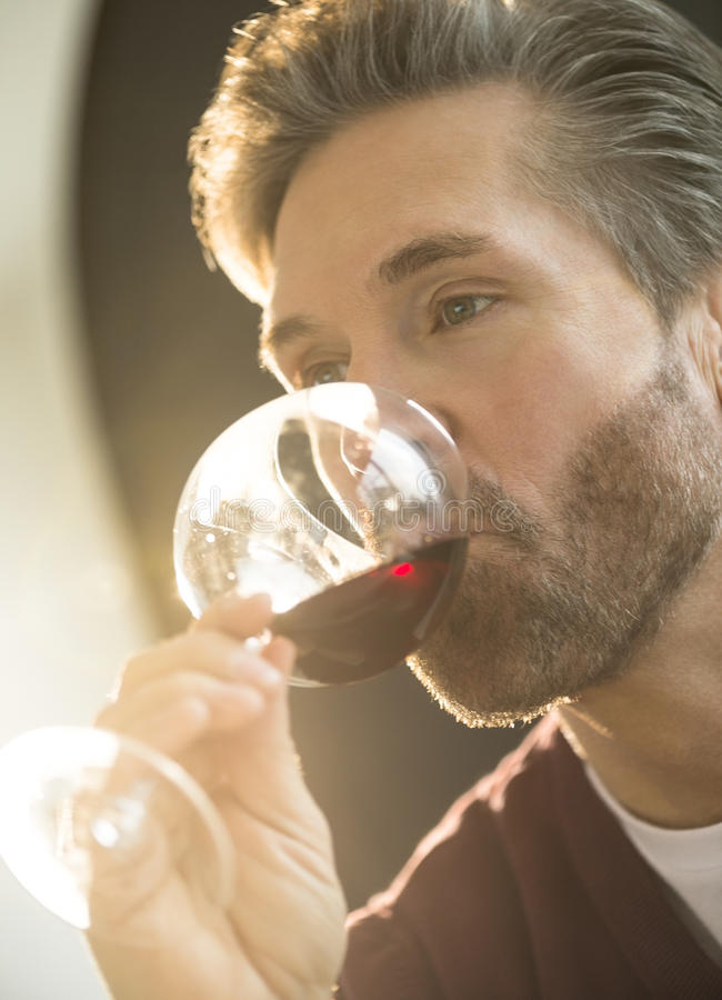 Homme buvant du vin rouge à la maison photographie stock libre de droits