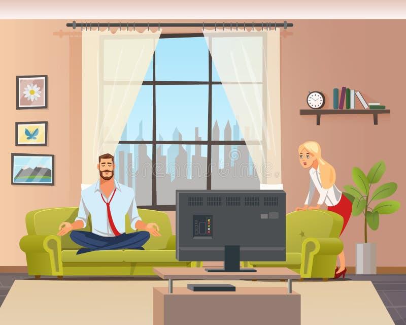 Homme calme paisible faisant le yoga à la maison dans le salon illustration de vecteur