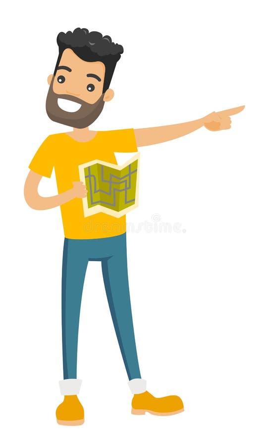 Homme caucasien avec la carte indiquant le doigt le côté illustration de vecteur