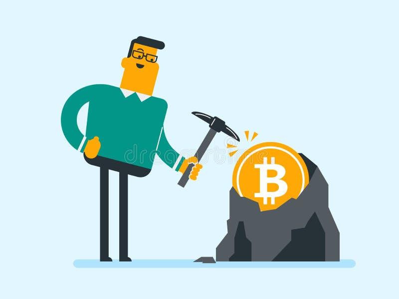 Homme caucasien avec la pioche fonctionnant dans le mien de bitcoin illustration de vecteur