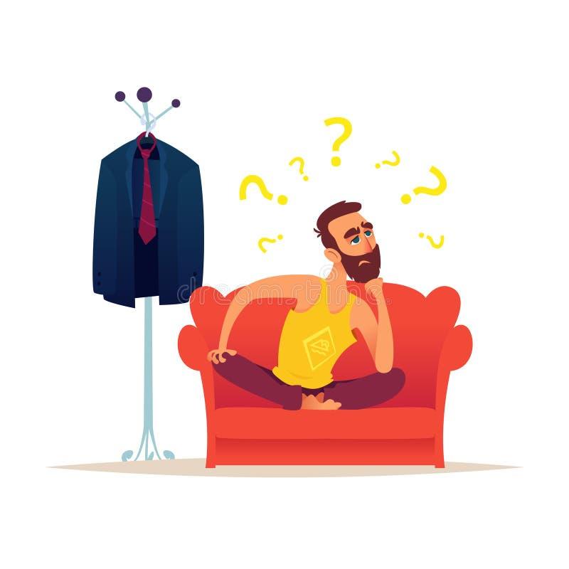 Homme caucasien barbu s'asseyant sur le sofa rouge et la pensée Il est entouré par des points d'interrogation Est tout près un co illustration libre de droits
