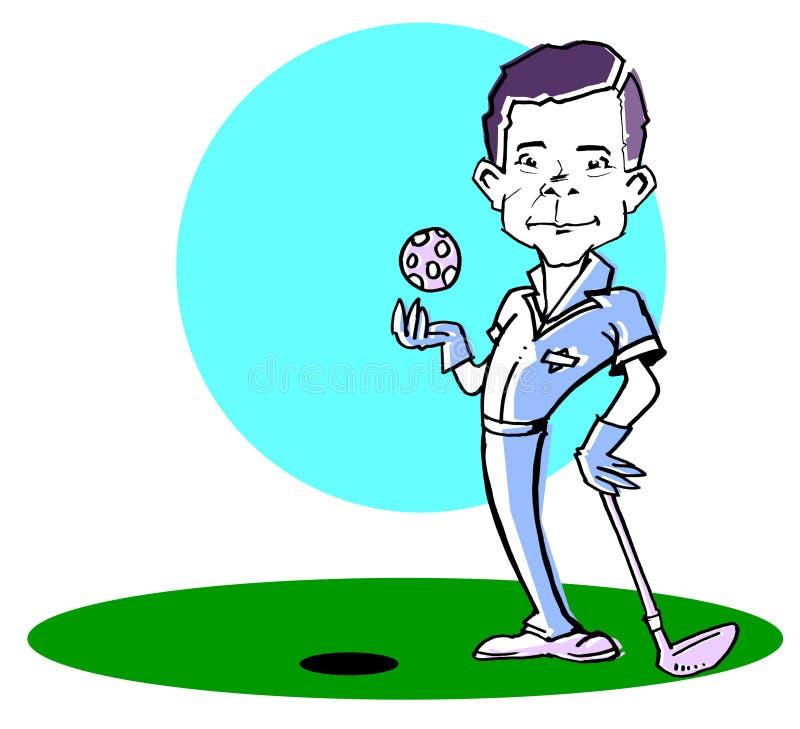 Homme caucasien /clipart de golfeur illustration libre de droits