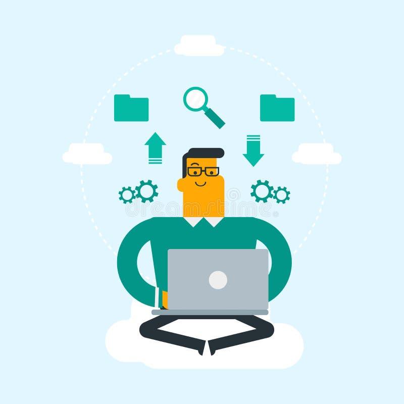 Homme caucasien employant des technologies informatiques de nuage illustration stock