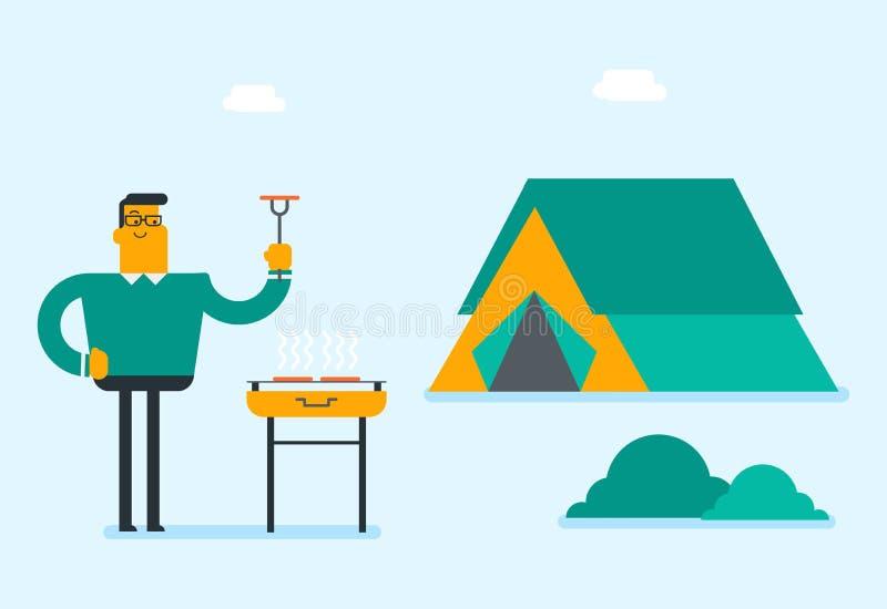Homme caucasien faisant cuire le bifteck sur le barbecue illustration de vecteur