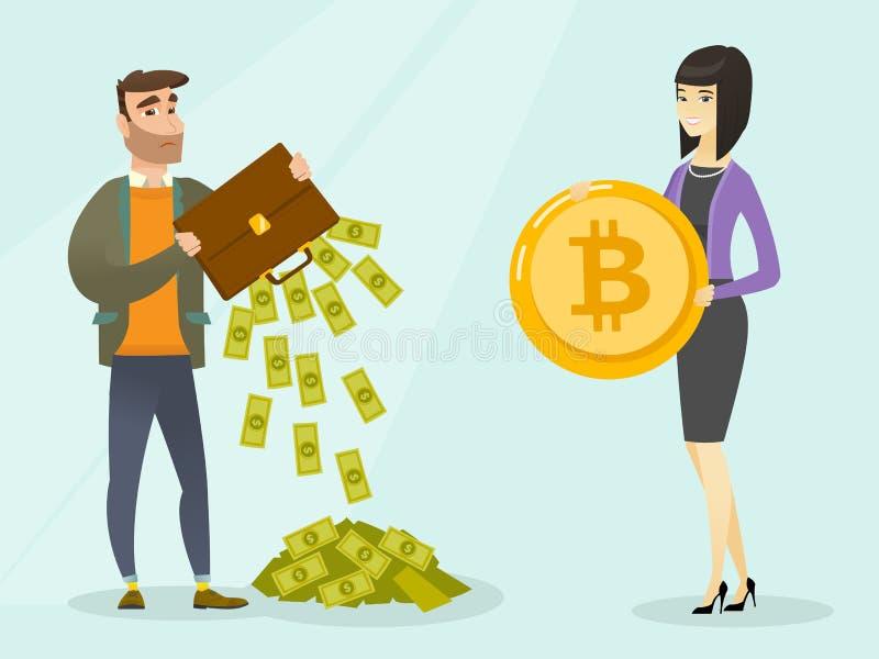 Homme caucasien nécessitant des bitcoins pour effectuer le paiement illustration de vecteur