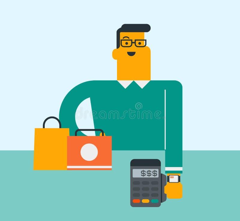 Homme caucasien payant la radio avec une montre intelligente illustration stock