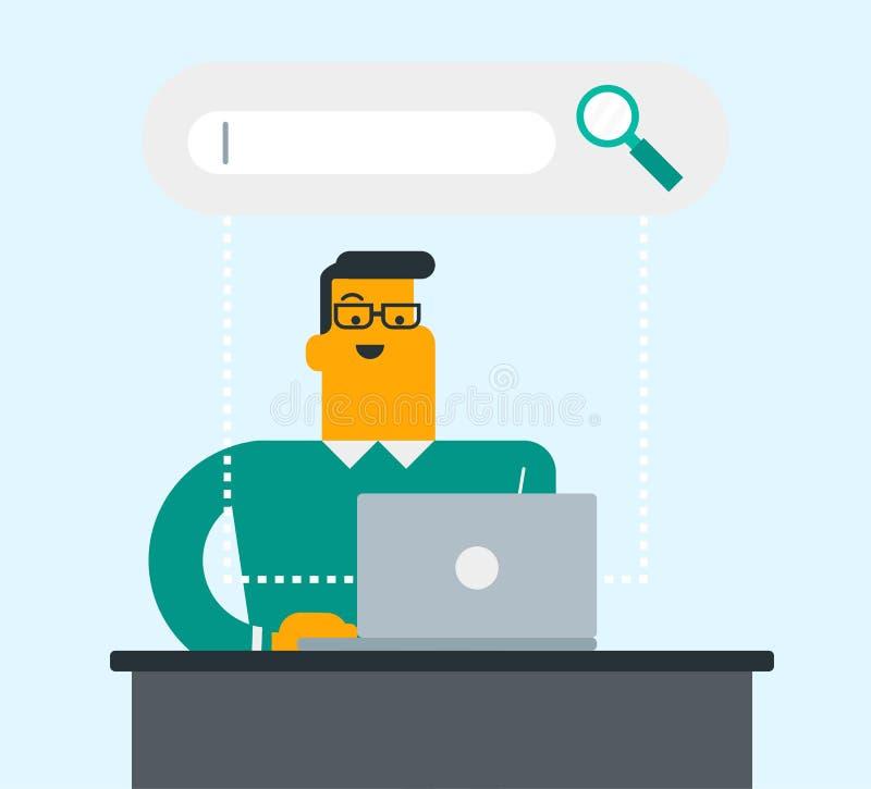 Homme caucasien recherchant l'information sur un ordinateur portable illustration de vecteur