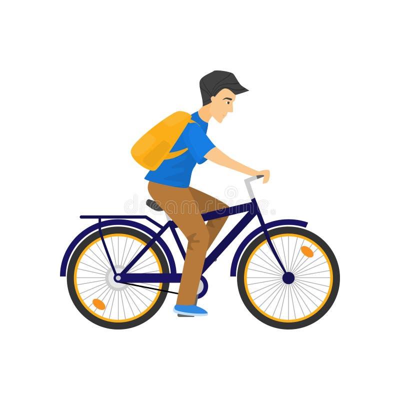 Homme caucasien sérieux avec le sac à dos montant la bicyclette bleue sur le blanc illustration stock