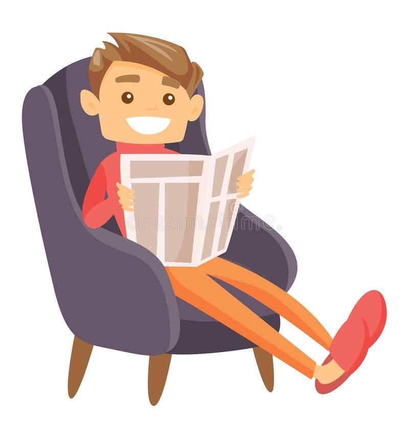 Homme caucasien s'asseyant dans le fauteuil avec le journal illustration libre de droits