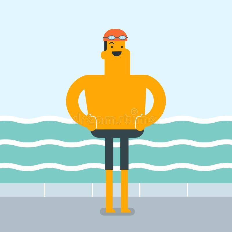 Homme caucasien sur le fond de la piscine illustration libre de droits