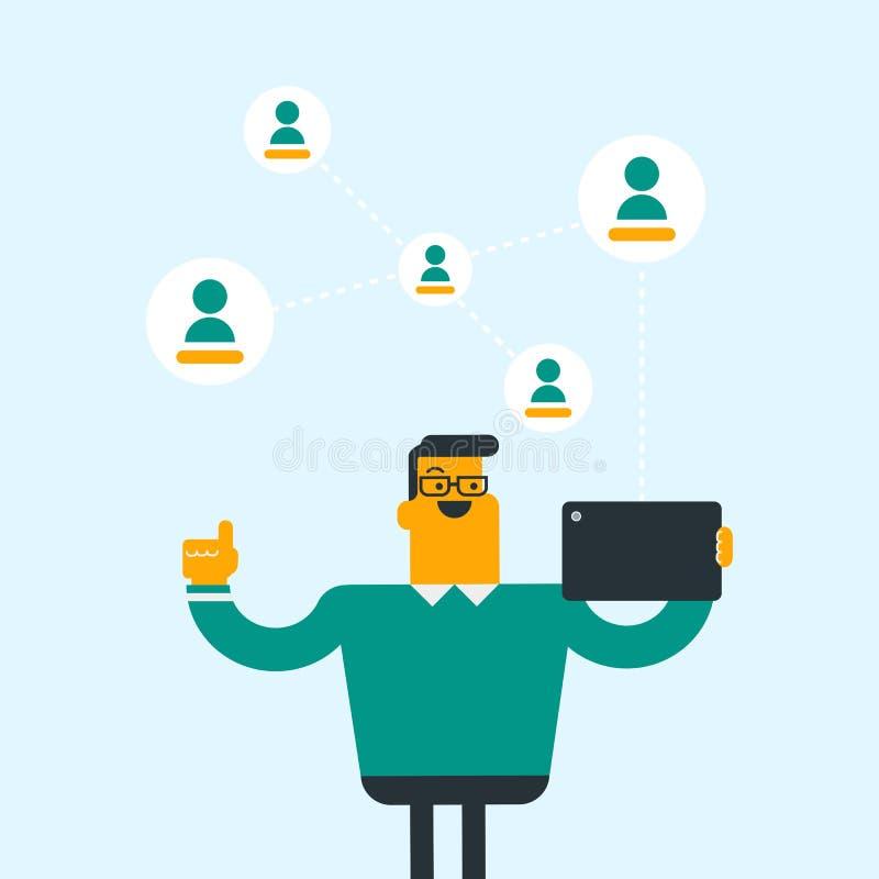 Homme caucasien surfant dans le réseau social illustration stock
