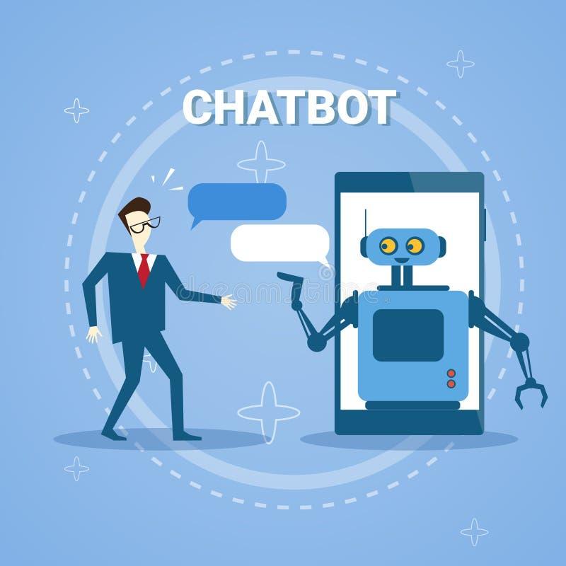 Homme causant avec le Bot de broutement de la technologie en ligne d'aide de soutien de téléphone intelligent illustration stock