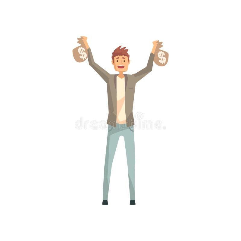 Homme chanceux tenant deux sacs d'argent Caractère masculin de bande dessinée gagné dans la loterie Personne avec la bonne chance illustration stock