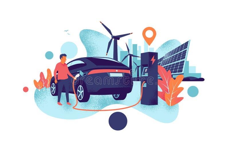 Homme chargeant une voiture électrique de la station de panneaux solaires et d'énergie éolienne et du style de grain d'horizon de illustration stock