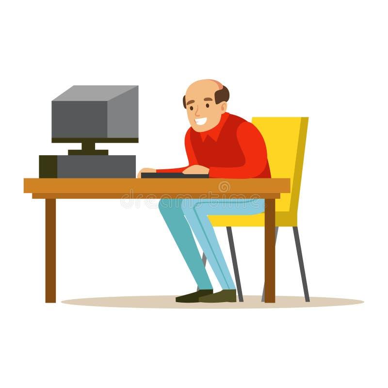 Homme chauve de sourire travaillant sur un ordinateur à son bureau, illustration colorée de vecteur de caractère illustration de vecteur