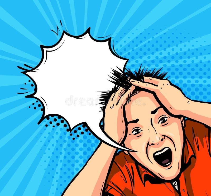 Homme choqué Panique, horreur, concept d'effort Dirigez l'illustration dans style comique d'art de bruit le rétro illustration stock