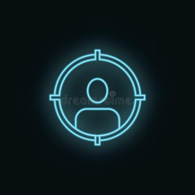 Homme, cible, néon, icône r : illustration de vecteur