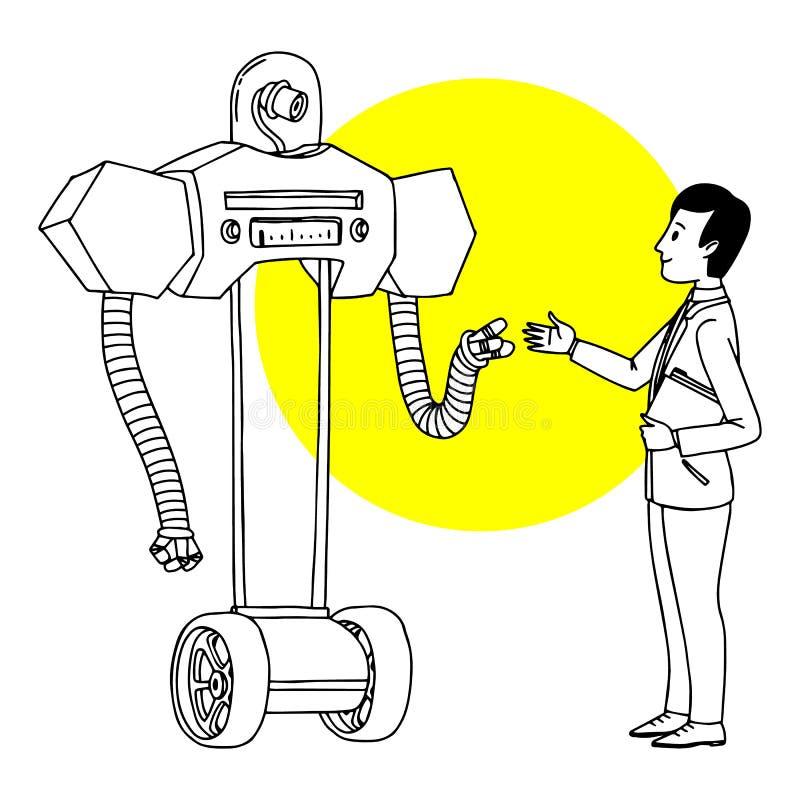 Homme communiquant avec le robot Illustration futuriste de situation Croquis d'isolement par vecteur d'ensemble illustration libre de droits