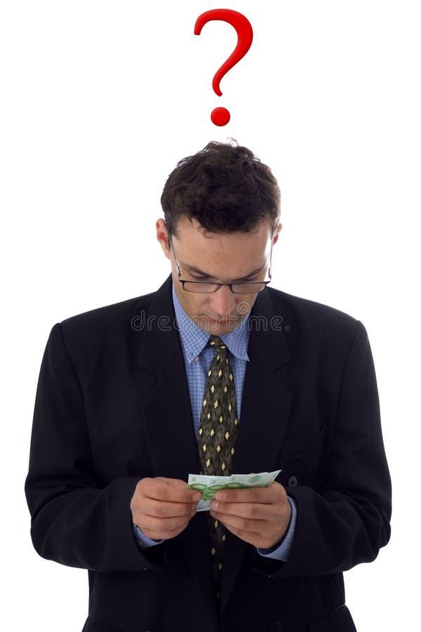 Homme comptant l'argent images stock