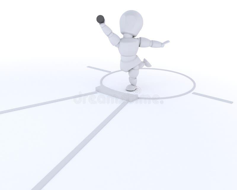 Homme concurrençant dans le putt de projectile illustration de vecteur