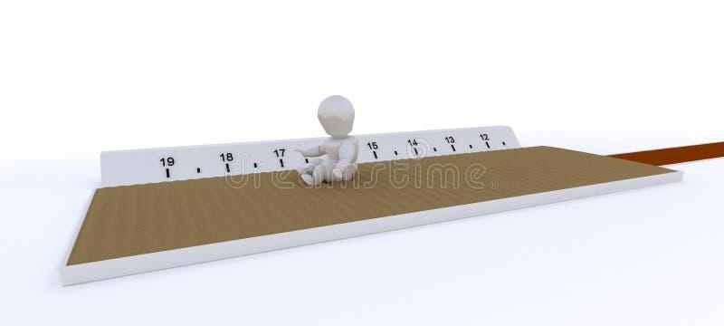 Homme concurrençant dans le saut triple illustration stock