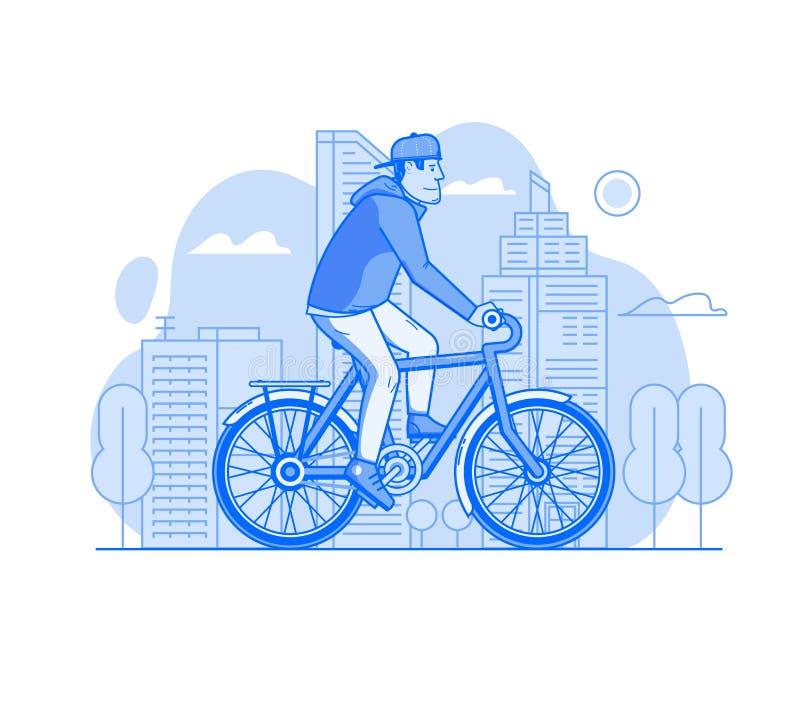 Homme conduisant la bicyclette sur la ville moderne illustration stock