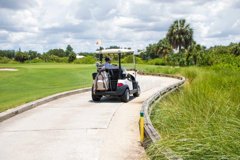 Homme conduisant le chariot de golf sur le chemin photos libres de droits