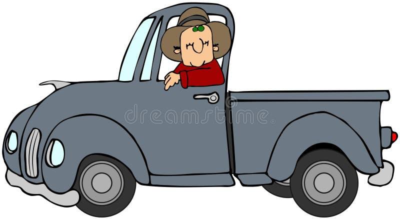 Homme conduisant un camion bleu illustration de vecteur