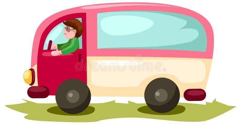 Homme conduisant van car illustration libre de droits