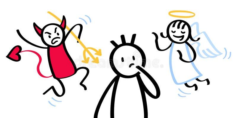 Homme confus de bâton avec l'ange contradictoire d'épaule et diable illustration libre de droits
