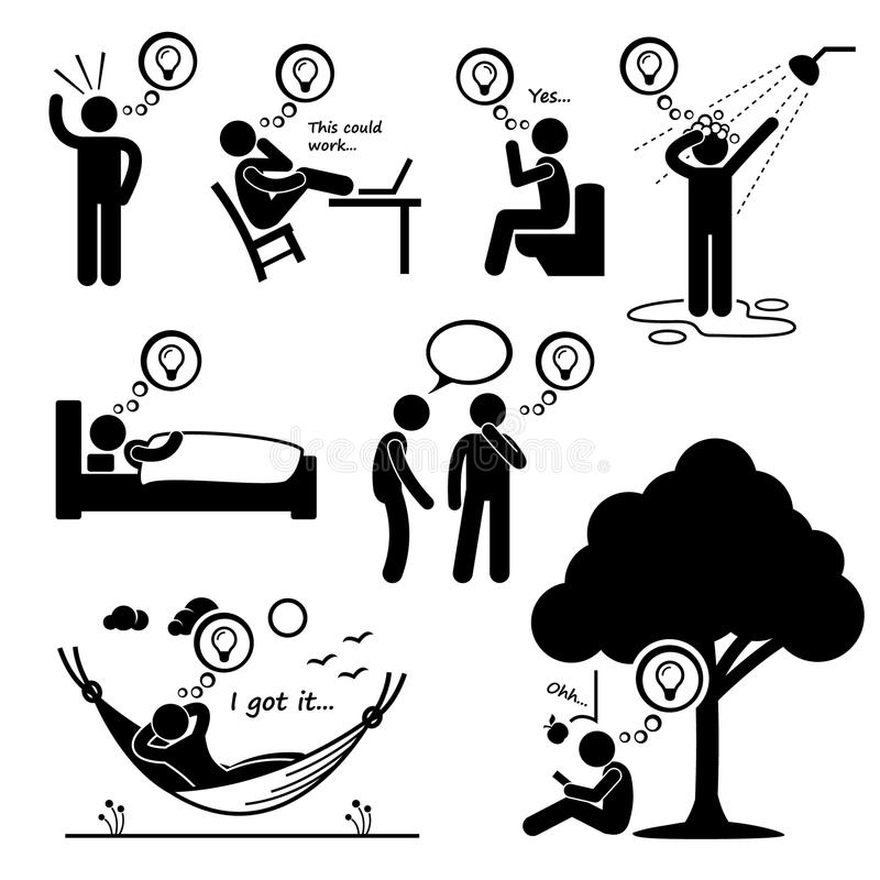 Homme considéré de nouvelles icônes de Cliparts d'idée illustration stock