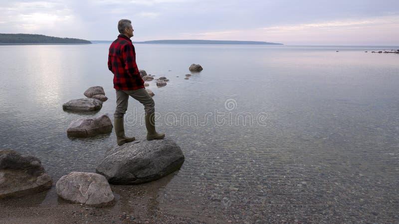 Homme contemplatif en nature photographie stock libre de droits