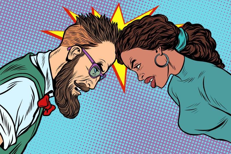 Homme contre la femme, la confrontation et la concurrence illustration libre de droits