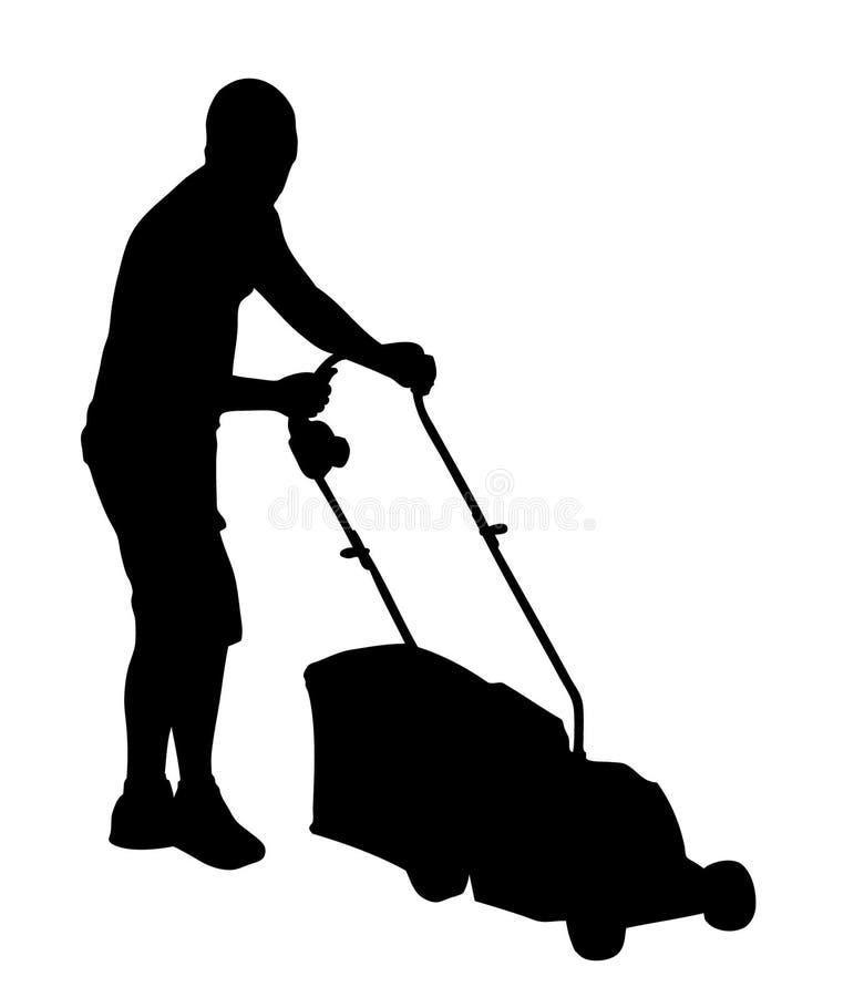 Homme coupant l'herbe avec la silhouette de tondeuse à gazon illustration stock
