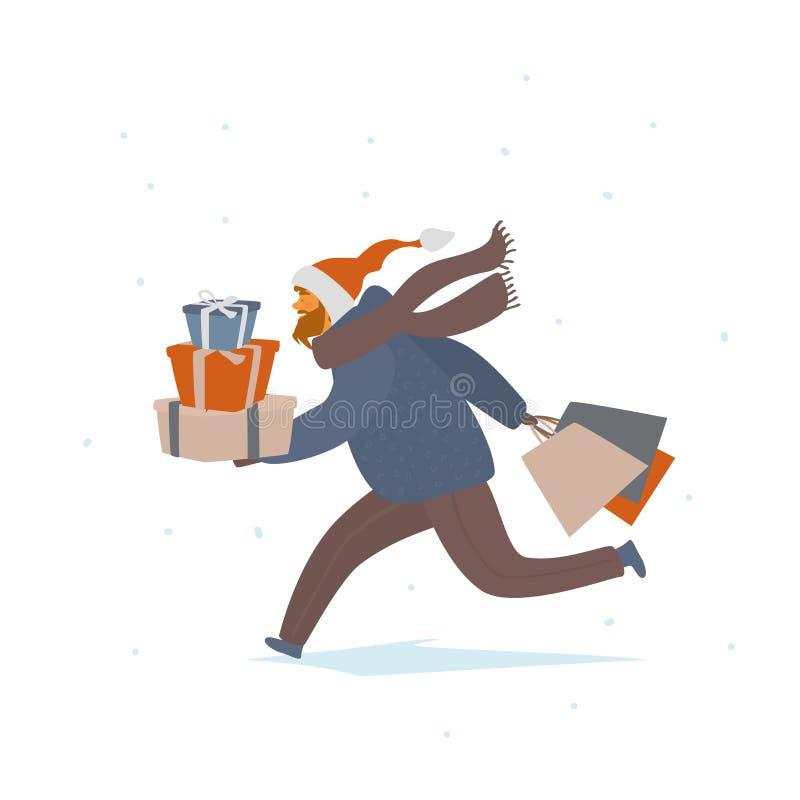 Homme courant avec les cadeaux de Noël et l'illustration d'isolement de vecteur de sacs à provisions illustration libre de droits