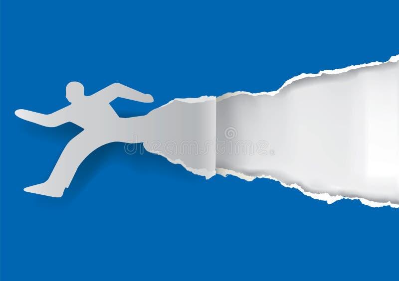 Homme courant déchirant le papier illustration stock