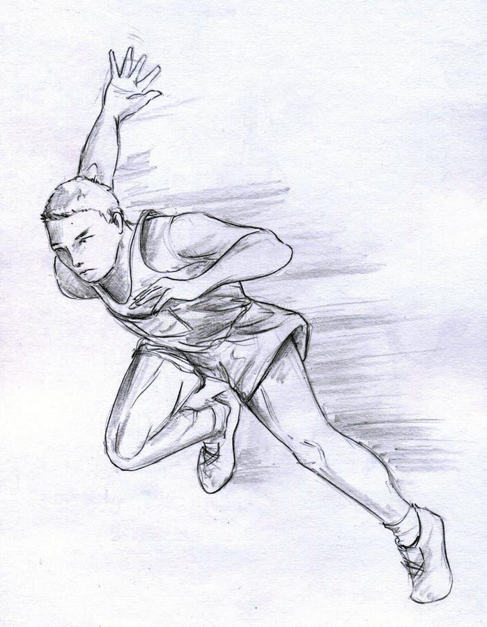 Homme courant d'athlète illustration de vecteur