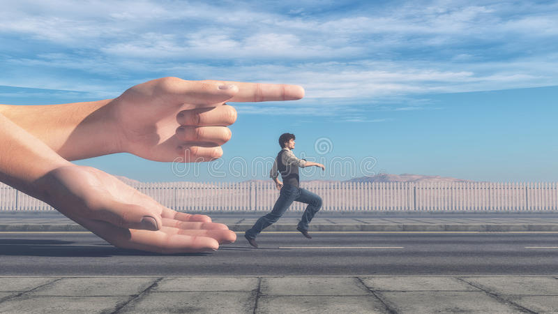 Homme courant dans la direction illustration stock