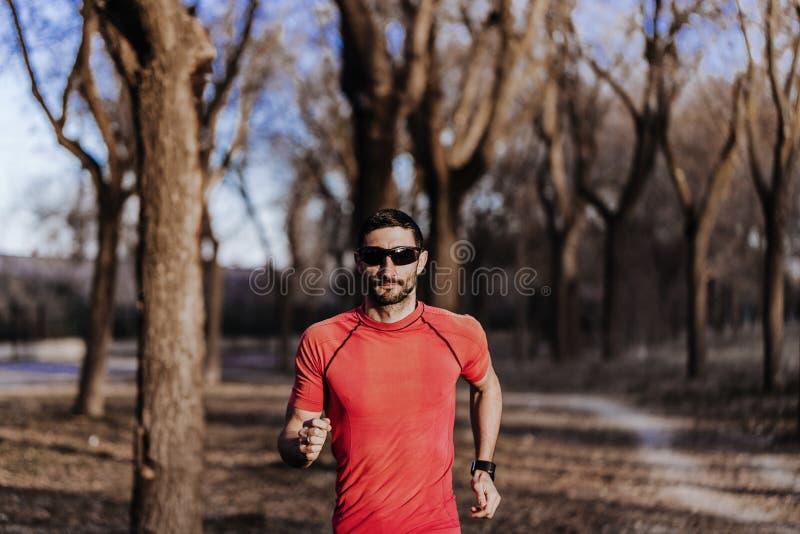 Homme courant de sport dans la course de traînée de pays croisé Formation masculine convenable d'exercice de coureur et sauter de photos libres de droits