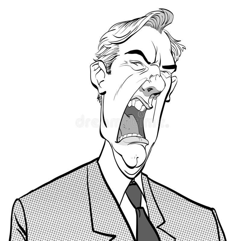 Homme criard Bossage fâché Politicien contrarié Homme fâché Homme de fureur illustration libre de droits