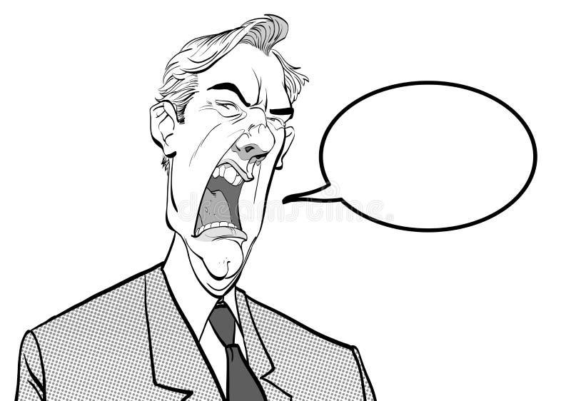 Homme criard Bossage fâché Politicien contrarié Homme fâché Homme de fureur illustration stock