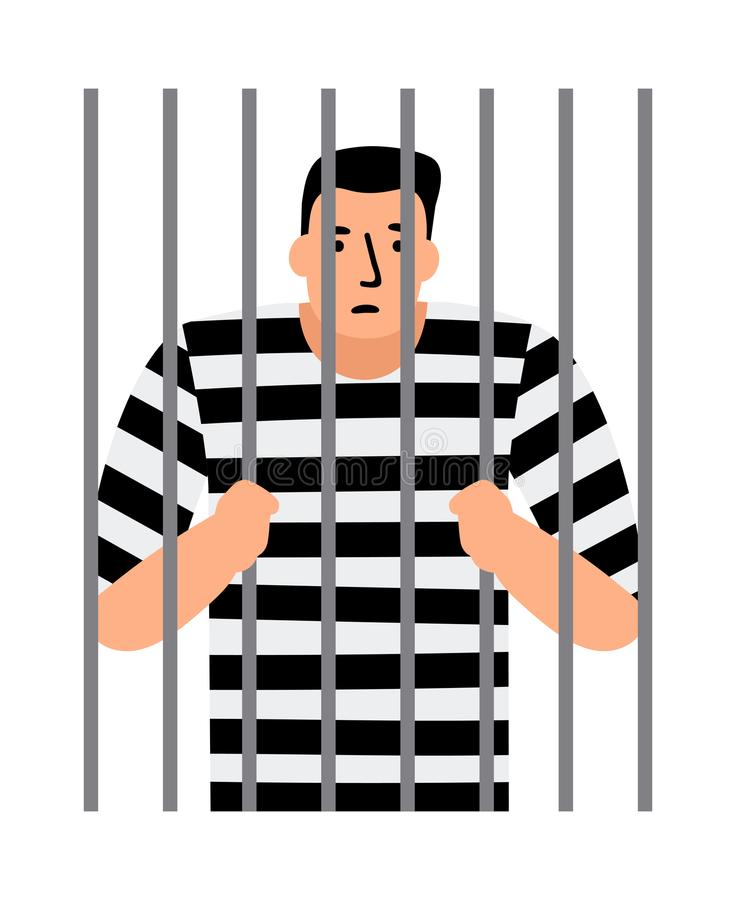 Homme criminel en prison illustration libre de droits