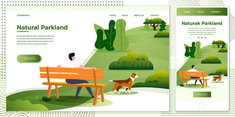 Homme croisé d'ensemble d'illustration de plate-forme de vecteur en parc illustration de vecteur