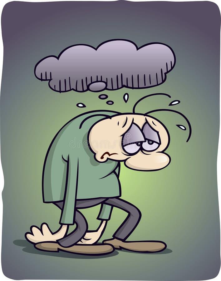 Homme déprimé illustration stock