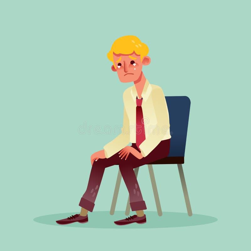 Homme désespéré d'affaires s'asseyant sur une chaise et une bande dessinée pleurante illustration libre de droits