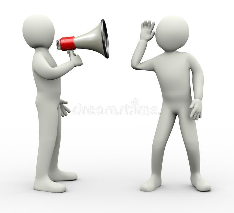 homme 3d écoutant l'annonce d'actualités de mégaphone illustration de vecteur